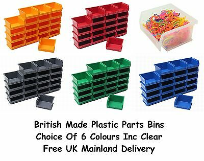NEW Quality British Made Plastic Parts Storage Bins 20 x Size 1 - Colour Choice
