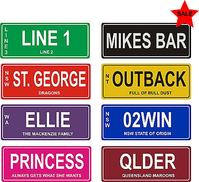 Custom Personalised Sign Bike Car Number Licence Plate Novelty Birthday Gift Kid