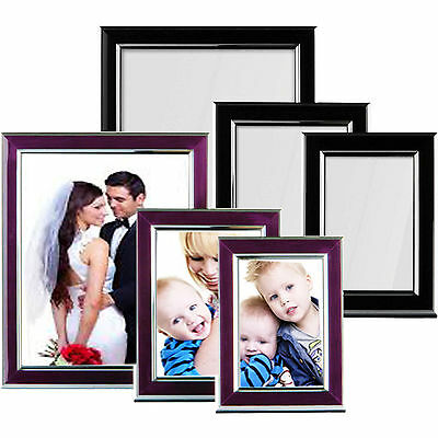 Set Of 3 Modern Picture Frames Standing Wall Photo Poster Black Purple & Silver