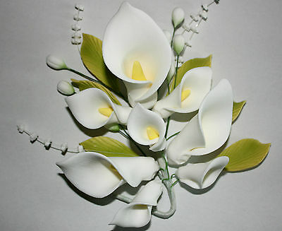 Lily Sugar Flower, Medium Calla Lily Spray, Cake Topper, Gum Sugarpaste, Wedding