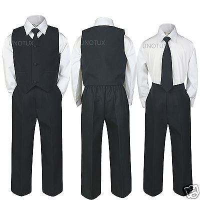 Kid Teen Baby Toddler Boy Wedding Easter Recital Formal Vest Suit BLACK sz S-20