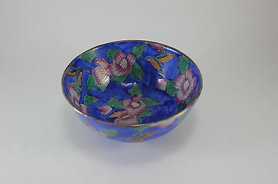Vintage Decorative Asian Chinese Oriental Blue Bowl Pink Flowers Birds