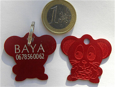 MEDAILLE GRAVEE SOURIS ROUGE CHIEN CHAT collier medalla cane hund katze