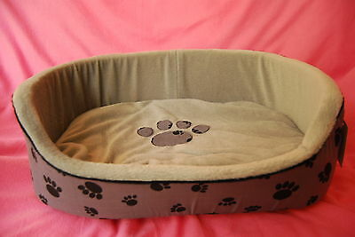 Deluxe Dog Bed Pet Cat Faux Fur Soft Fleece With Paw Print Design 5 sizes