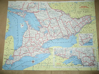 1981 Colorful  Original Funk Map SOUTHERN MANITOBA  / Southern ONTARIO