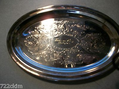 """silver plate tray 10""""long 6 1/4"""" w nice desine Venna and harry april 1-1977 date"""