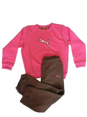 Puma baby girls infants cotton blend casual pink-brown crew jogger tracksuit set