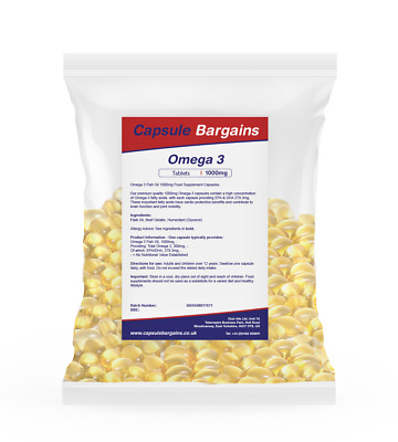 High Strength Omega 3 1000mg Fish Oil 180 capsules by Capsule Bargains