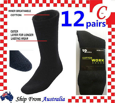 12PRS MEN MENS EXTRA THICK COTTON WORK SOCKS Heavy Duty Boot Cushion Black BULK