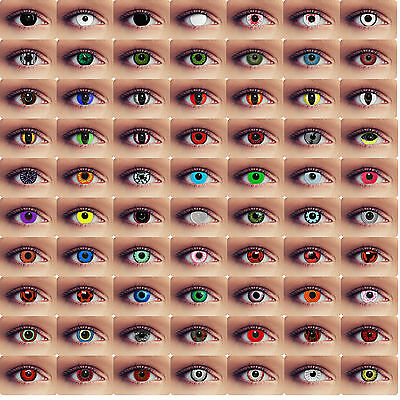 Colored zombie demon contacts crazy red green white blue halloween contacts