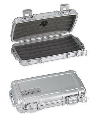 Cigar Caddy 5 Stick Travel Humidor with Free Cutter and Solution Matte Silver