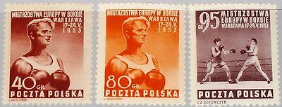 POLAND POLEN 1953 802-04 575-77 European Boxing Matches CS Box EM Boxen MNH