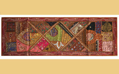 HAND EMBROIDERED ANTIQUE PATCHES WALL RUNNER/TAPESTRY/THROW FROM INDIA !!