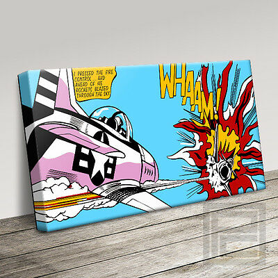 CLASSIC 'WHAAM' ROY LICHTENSTEIN STYLE RETRO ICONIC CANVAS PRINT Art Williams