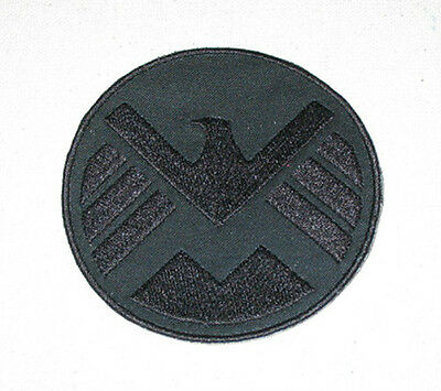 """S.H.I.E.L.D.  Embroidered arm patch Black on Black 3.75"""" tall"""" Avengers Shield"""