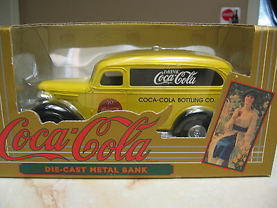 Coca Cola 1936 Chevy Panel Truck  Die Cast Metal Bank 50Th Anniversary  - Nib