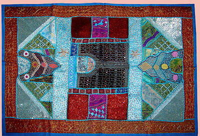 Heavy Bead Work Hand Embroidered Antique Wall Tapestry/throw/hanging From India