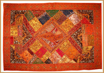 Sequin Bead Zardozi Work Hand Embroidered Antique Wall Tapestry/throw From India