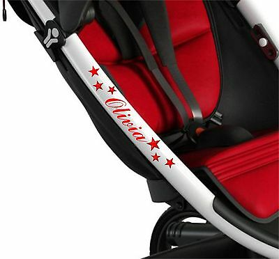 PERSONALISED PUSHCHAIR STICKERS + STARS Baby Pram Buggy Stroller Solo Quinny 3D