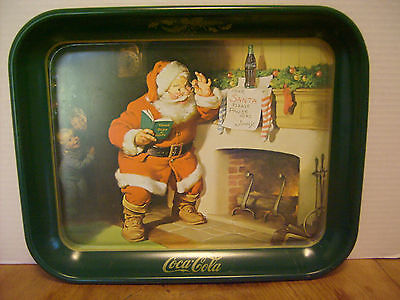 "Coca-Cola Santa Claus Old-fashioned Christmas Tin tray 13 1/4"" 1991  USED RB-3b"