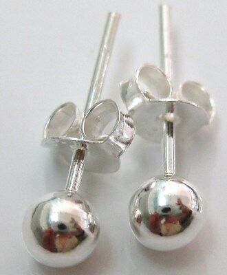 Real 925 Sterling Silver 4mm plain round ball stud earrings -UNISEX - NO RESERVE