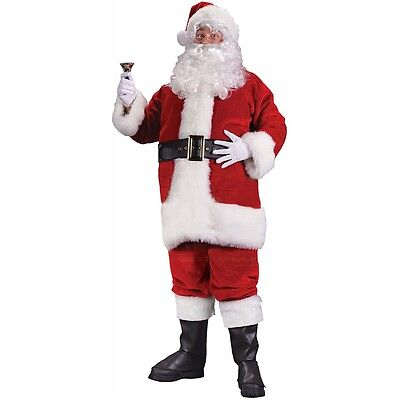 Santa Claus Costume Adult Mens Deluxe Suit Christmas Outfit Fancy Dress