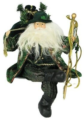"16"" CHRISTMAS HOLIDAY IRISH SHAMROCK FATHER SITTING SANTA FIGURE Y11691"