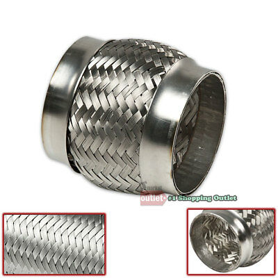 """2.375/"""" x 12/"""" Double Braid Stainless Steel 9.125/"""" Flex Pipe Piping Joint Adapter"""