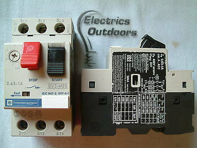 Telemecanique Relay 0.63 - 1 Amp Manual Start Stop Switch Gv2-M05 Gv2M05 Iec 947
