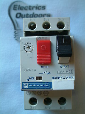 Telemecanique Relay 0.63 - 1 Amp Manual Start Stop Switch Gv2-M05 Part Missing