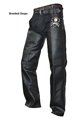 unisex black leather mens ladies motorcycle biker chaps braided new all sizes
