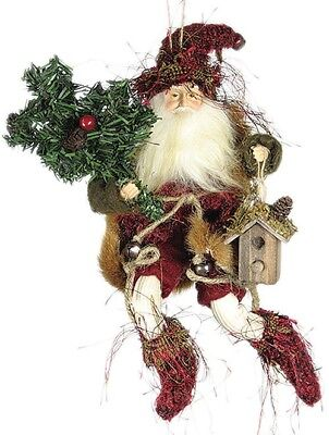 """9"""" Whimsical Christmas Holiday Forest Elf W/bird House - Red/green E00971"""