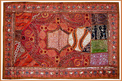 SEQUIN BEAD PATCH  WORK HAND EMBROIDERED ANTIQUE WALL TAPESTRY/THROW FROM INDIA
