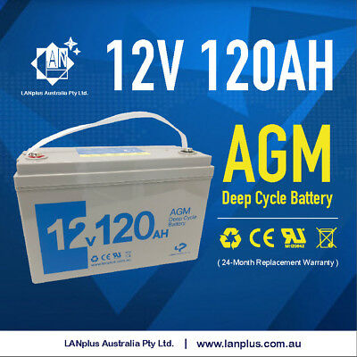 12V 120AH @ 20hrs AGM DEEP CYCLE BATTERY Caravan Boat Solar 4WD 24-month warrant