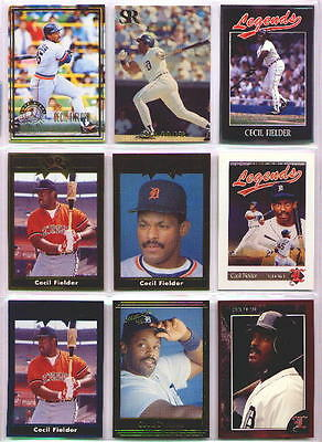 CECIL FIELDER ~ Lot of (9) Different Rare Oddball Baseball Trading Cards