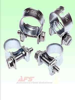 Zinc Plated Jubilee Mini Hose Clips Clamps Pipe Nut & Bolt - Air Fuel Water AFS