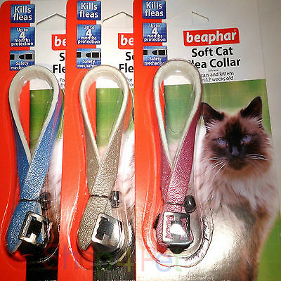 Beaphar Soft Cat Flea Collar, Up to 4 Months Protection, Baby Blue or Silver