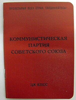 Original USSR Communist Party Membership Card Real Official Soviet Document