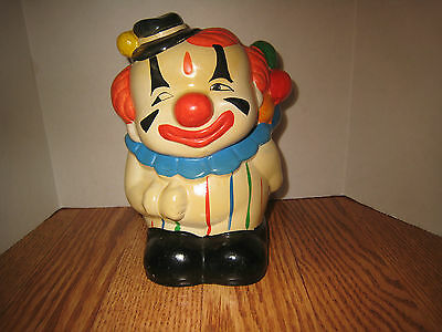 """Vintage Clown with Balloons Bank  Ceramic  7"""""""