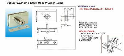 Chrome Cabinet Swinging Glass Door Plunger Lock keyed the same C410-6-110