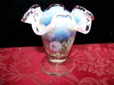 """Crimped White Opalescent Vase, Pink Rim, Hand Painted Flowers, Signed, 4 1/8""""H"""