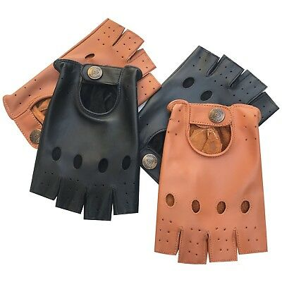 Mens top quality real soft leather fingerless driving gloves 310 black & tan new