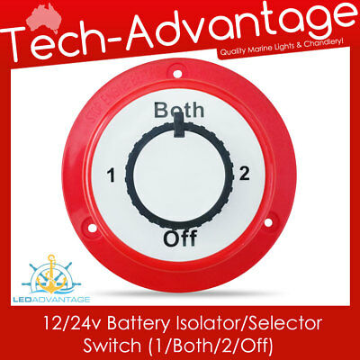 12/24v dual battery isolator selector switch - boat/caravan/motorhome/marine