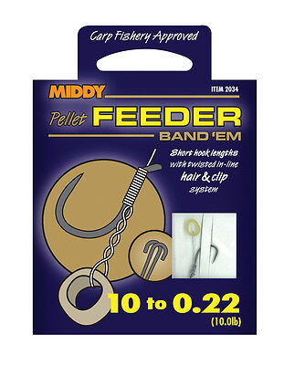 Middy Pellet Feeder Hooks To Nylon Easy Clip On To Feeder Barbless Size 10,12,14