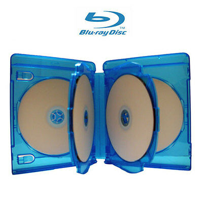 5 NEW 22mm 6 Discs Blu-Ray Case with 2 Trays for DVD CD Disc Licensed Logo