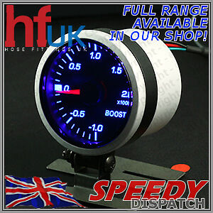 Smoked BLUE LED TURBO BOOST GAUGE 52mm Dial 2 BAR + FITTING KIT & HOLDER POD