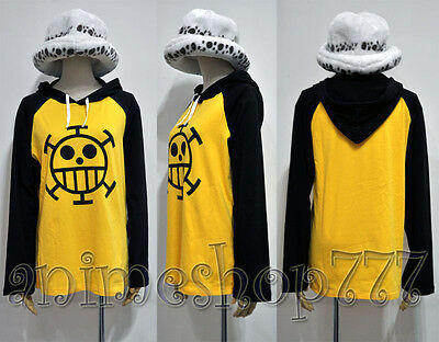 One Piece Trafalgar Law Hoodie + Hat Cosplay Party Costume New Free Shipping