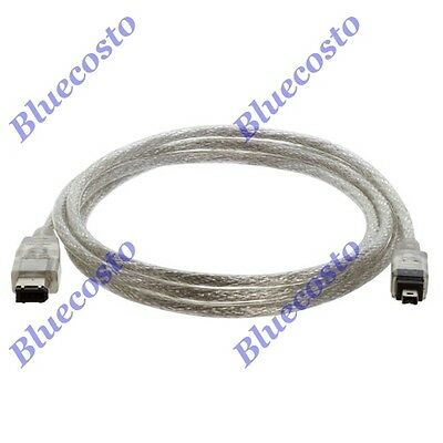 4FT 6 to 4-pin IEEE-1394 iLink FireWire Cable Cord 6P/4P M/M DV Camera Mac