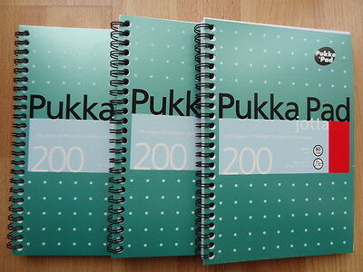 3 x PUKKA PAD A5 Premium Quality 80GSM 200 pages Note Book Jotta Lined Spiral