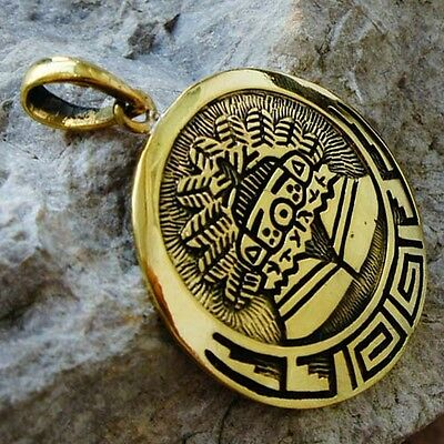 MAYAN RITUAL MASKED PRIEST solid brass pendant Maya/Aztec//Navajo/Indian/Mexican
